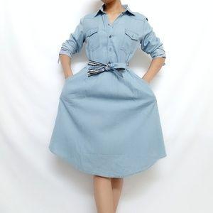 Dresses & Skirts - New denim midi shirt dress with accent waist tie